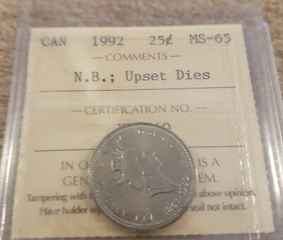 1992 canada New Bunswick 25 cents ICCS MS65 GEM upset dies, under rate GEM coin