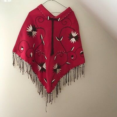 Vtg 1960s Mexican Red Cape Felt Wool Hand Embroidered Floral Fringed Poncho