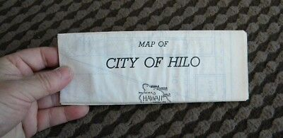 Rare 1937 HILO HAWAII Vintage Map - CHAMBER OF COMMERCE