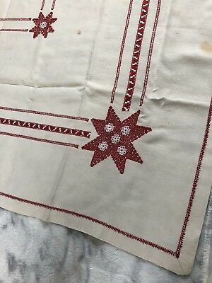 Vintage Tablecloth 48 x 50 +  6 Napkins Linen White Crochet Red Stars Snowflake