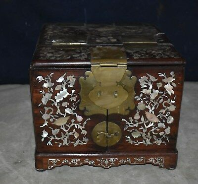 Antique Chinese Mother Of Pearl Inlaid Huanghuali Zitan Dresser Box Mirror Stand