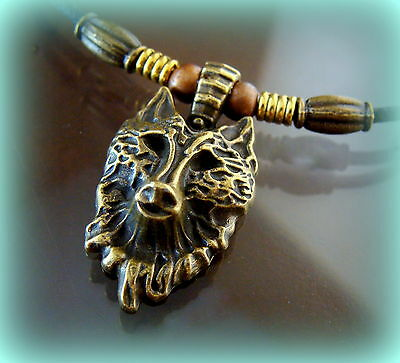 Indian look Wolf Head Pendant - Canine Wild Animal WOLF themed Jewelry Necklace