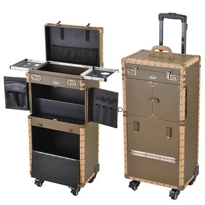 AW® Classic Makeup Train Case Artist Salon Show Storage Rolling Wheel Trolley
