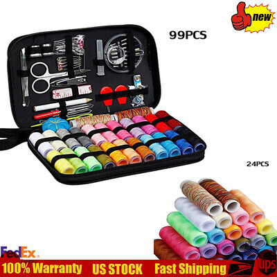 New Portable Sewing Kit 99pcs Multi-function Sewing Box Black Family Travel USA