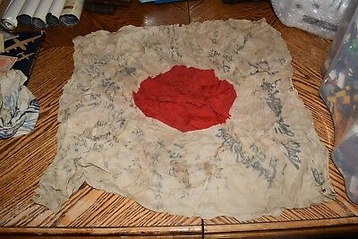"Vintage Original Japanese Meatball Good Luck Flag With Writing Approx 26"" x 28"""