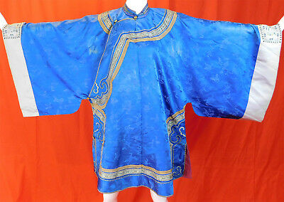 Antique Chinese Royal Blue Silk Wide Embroidered Sleeve Band Cuffs Manchu Robe