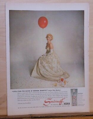 1959 magazine ad for Smirnoff Vodka - Eva Gabor, It's Fun to Host a Vodka Party