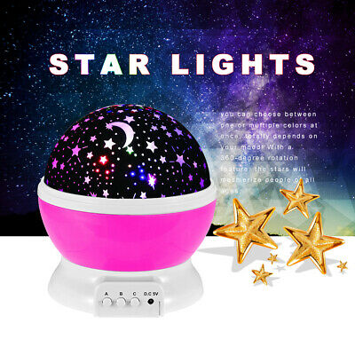 Purple LED Lamp Baby Night Lights Color Changing Rotating Star Sky Projector US