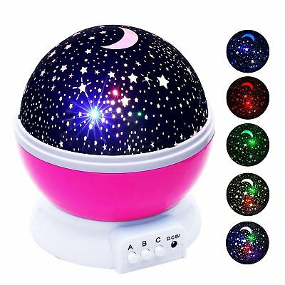 Pink LED Lamp Baby Night Lights Color Changing Rotating Star Sky Projector US