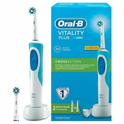 Oral-B Vitality Plus Cross Action 2 Heads Rechargeable Toothbrush Brand NEW