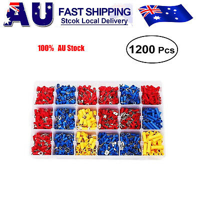 1200x Automotive Electrical Wire Connector Insulated Crimp Terminals Spade Set