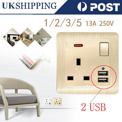 1/2/3/5 13A 2 USB Charger Wall Plug Socket Gang Port Outlet Switched Plate