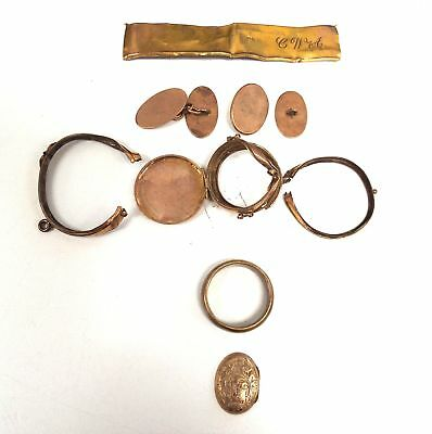 Mixed Collection of Various GOLD Pieces 9ct & 18ct Includ Red Brass RING - I01
