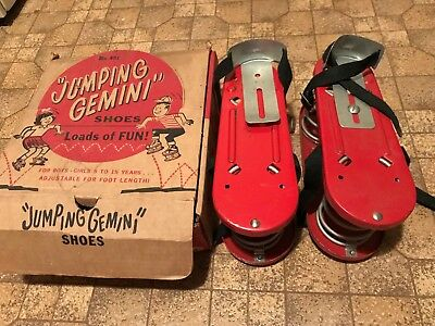 Pair of vintage 1950's JUMPING GEMINI SPRING LOADED SHOES in box! super rare!