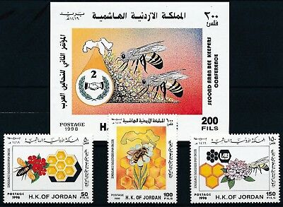 [H15837] Jordan 1998 BEES - INSECTS Good lot set of stamps + sheet very fine MNH