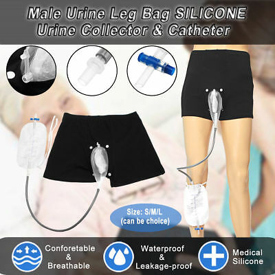 Upgrade Incontinence Male Urine Leg Bag SILICONE Snap urine collector & Catheter
