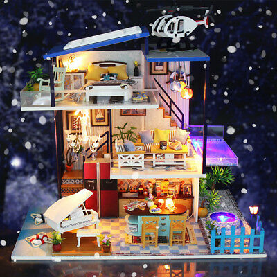 Miniature DIY Dollhouse 3D Doll House Kit Wooden Furnitures LED Light Music Gift