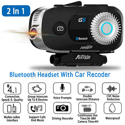 G5 3500M Bluetooth Motorcycle Bike Camera DVR Helmet Headset Intercom Interphone