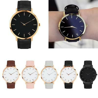 Luxury Women Men Simple Quartz Analog Watch Gold Leather Band Wrist Watches BD @