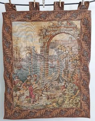 "Beautiful Harbour Scene Tapestry Wall Hanging 32"" x 26"" 820mm x 670mm"