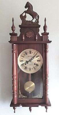 Regulator Wall Clock 31 Day, Gong, Pendulum, Key Boxed Instructions Vintage