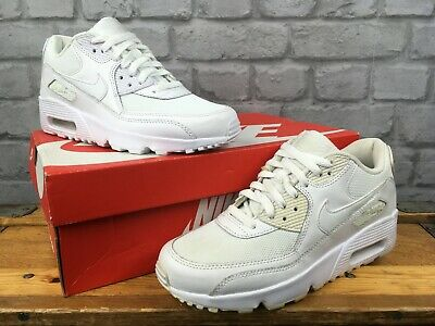 super popular dcb9d 88092 Nike Air Max 90 White Leather Trainers Boys Girls Childrens Youth Ladies