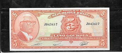 Haiti #232 1979 5 Gourdes Vf Circ Old Banknote Paper Money Currency Bill Note