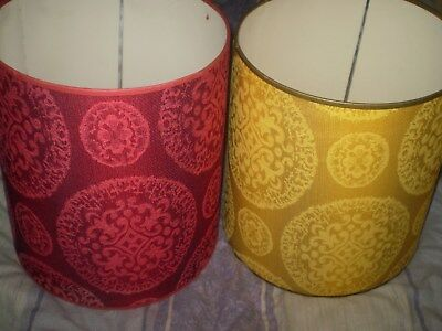 1970s retro funky flock style pair of lamp shades unused old shop stock 15x14'in