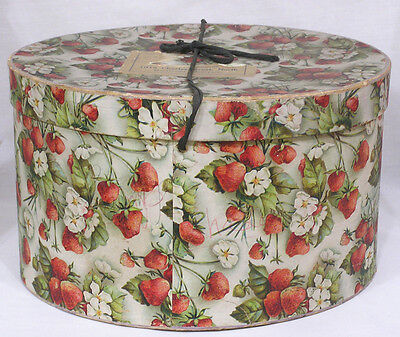 Vintage 1930s Hat Box Strawberries Blossoms Print Baltimore Importer