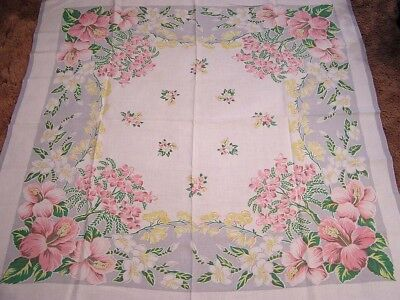 Vintage Tablecloth Pink Hibiscus Tropical Flowers White Yellow Green Ferns 50""
