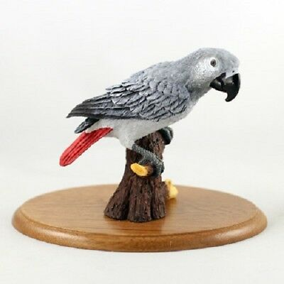 Pretty HAND PAINTED AFRICAN GREY resin PARROT FIGURINE on WOOD BASE Bird Statue