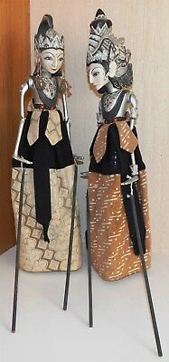 Two Wonderful Vintage Asian / Oriental Marionette Stick Puppets