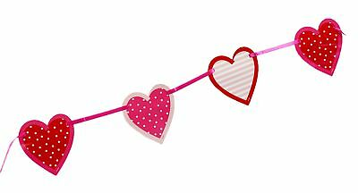 Valentines Banner Bunting Red Love Heart Cutout Felt Hanging Party Decoration 3M