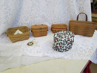 Lot of 4 Longaberger Baskets, One Tie-On and One Unknown Holly Liner