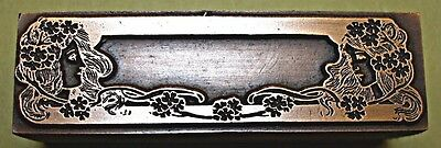 """Lovely """"art Nouveau"""" Name Plate Printing Block."""