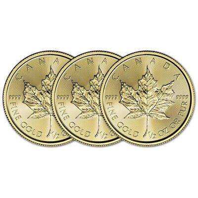 2019 Canada Gold Maple Leaf 1/2 oz $20 - BU - Three 3 Coins