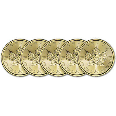 2019 Canada Gold Maple Leaf 1/2 oz $20 - BU - Five 5 Coins