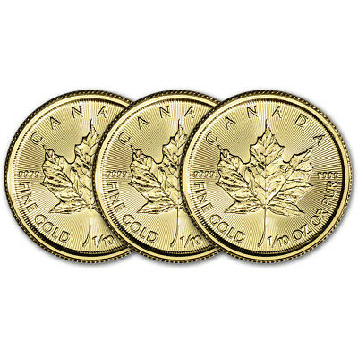 2019 Canada Gold Maple Leaf 1/10 oz $5 - BU - Three 3 Coins