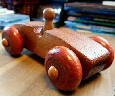 "Vintage Toy Race Car - 6"" handmade, Wooden, Wheels That Turn Box 1986 # 4"