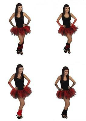 Red Black Tutu Skirt 4 Layer Legwarmers Gloves 80S Fancy Dress Hen Party Costume