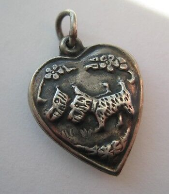 VINTAGE Sterling Silver PAIR OF SCOTTIE DOGS Puffy Heart Charm