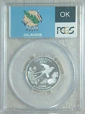 2008 S Uncirculated Silver Proof Oklahoma State Quarter Pcgs Graded Pr69 Dcam