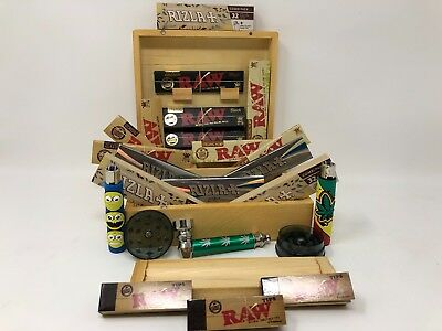 Raw Smokers Rolling Box Rizla Smoking Gift Set Skins Micron Hemp Papers Roaches
