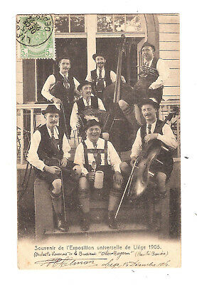 Cpa Musiciens Exposition Liege 1905 Orchestre Brasserie Orchester Ober Bayern