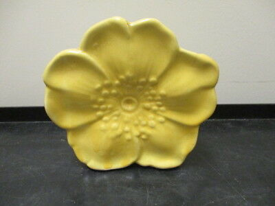 "Vintage McCoy Pottery Yellow Flower Blossom Shaped Wall Pocket Planter 6""Tall"