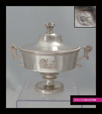 MAJESTIC ANTIQUE 1900s FRENCH STERLING SILVER SUGAR BOWL CUP Empire style Swan