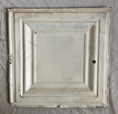 1890's 12 x 12 Antique Tin Ceiling Tile White Metal Reclaimed Anniversary 34-19