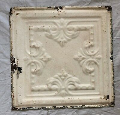1890's 12 x 12 Antique Tin Ceiling Tile Ivory Metal Reclaimed Anniversary 36-19