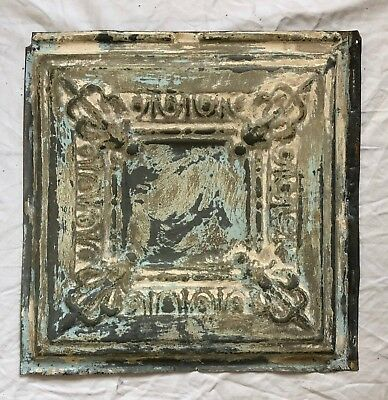 "12"" x 12"" Antique 1890's Tin Ceiling Tile Reclaimed Metal Taupe Verdigris 37-19"