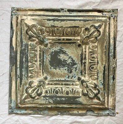 "12"" x 12"" Antique 1890's Tin Ceiling Tile Reclaimed Metal Taupe Verdigris 38-19"